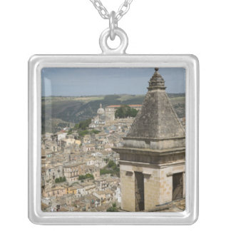 ITALY, Sicily, RAGUSA IBLA: Town View and Santa Silver Plated Necklace