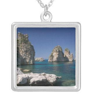 Italy, Sicily, Scopello, Rocks by Tonnara Silver Plated Necklace
