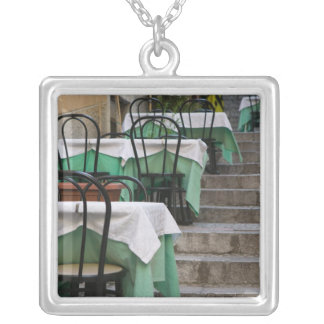 ITALY, Sicily, TAORMINA: Corso Umberto 1, Cafe Square Pendant Necklace