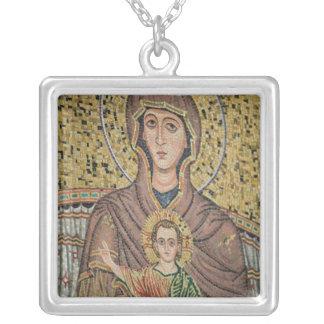 ITALY, Sicily, TAORMINA: Corso Umberto 1, Mosaic Silver Plated Necklace