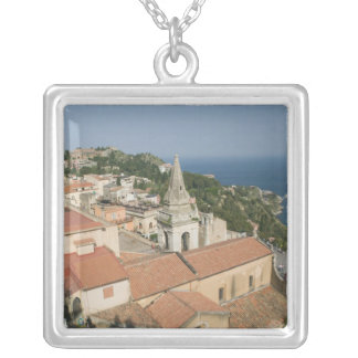 ITALY, Sicily, TAORMINA: View towards Piazza IX Silver Plated Necklace