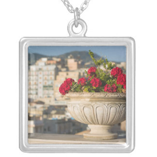 Italy, Sicily, Termini Imerese, View & Flowers Silver Plated Necklace