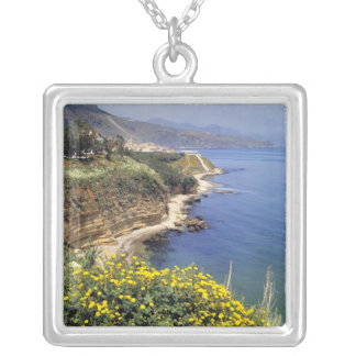 Italy, Sicily. The north coast of Sicily in Silver Plated Necklace