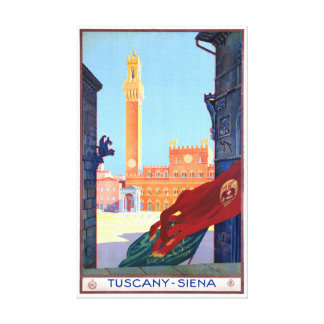 Italy Siena Vintage Travel Poster Restored Canvas Print