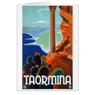 Italy Taormina Sicily Vintage Poster Card