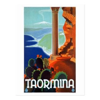 Italy Taormina Sicily Vintage Poster Postcard