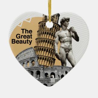 Italy, The Great Beauty Ceramic Heart Ornament