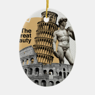 Italy, The Great Beauty Ceramic Oval Ornament