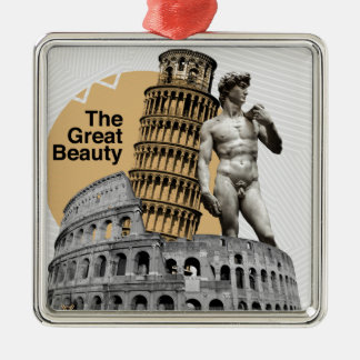 Italy, The Great Beauty Silver-Colored Square Ornament