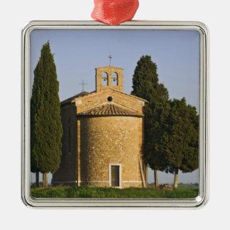 Italy, Tuscany. Close-up of Chapel of Vitaleta Silver-Colored Square Ornament
