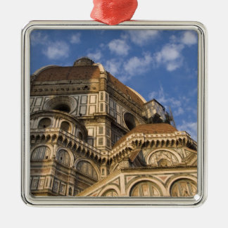Italy, Tuscany, Florence. The Duomo. 2 Silver-Colored Square Ornament