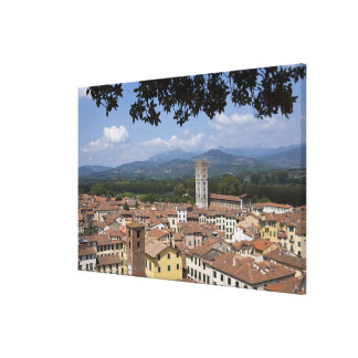 Italy, Tuscany, Lucca, View of the town and 3 Canvas Print