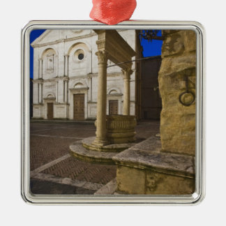 Italy, Tuscany, Pienza. Cathedral facade and Silver-Colored Square Ornament