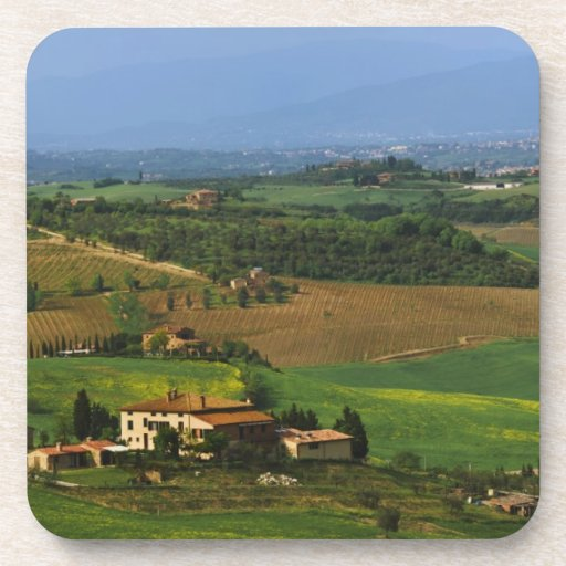 Italy, Tuscany. Scenic of the Val d'Orcia Beverage Coasters