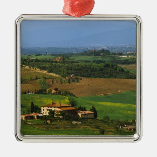 Italy, Tuscany. Scenic of the Val d'Orcia Silver-Colored Square Ornament