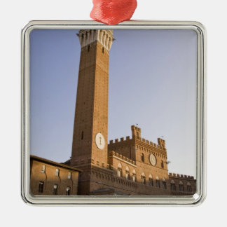 Italy, Tuscany, Sienna. Torre del Mangia on Silver-Colored Square Ornament