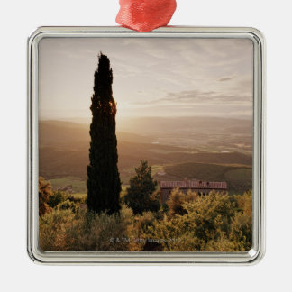 Italy,Tuscany,Val d'Orcia,Montalcino Silver-Colored Square Ornament