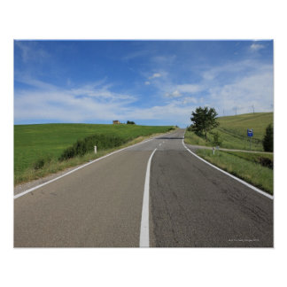 Italy, Tuscany, Val d'Orcia, Road Poster