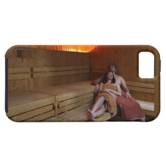 Italy, Tuscany, Young couple relaxing in sauna iPhone 5 Covers