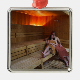 Italy, Tuscany, Young couple relaxing in sauna Silver-Colored Square Ornament