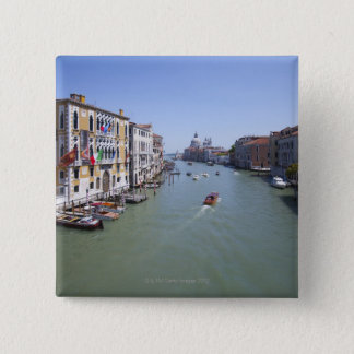 Italy, Venice, Boats on canal in city 2 Inch Square Button