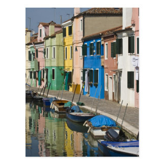 Italy, Venice, Burano. Multicolored houses along 2 Postcard
