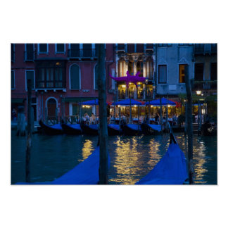 Italy, Venice, Night View Along the Grand Poster
