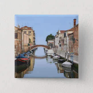 Italy, Venice. View of boats and homes along one 2 Inch Square Button
