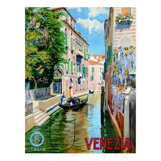 Italy Venice Vintage Travel Poster Restored Postcard