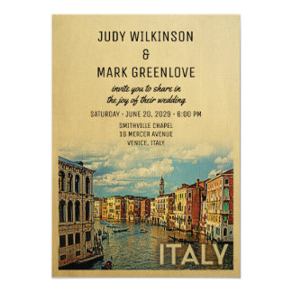 Italy Wedding Invitation Vintage Venice