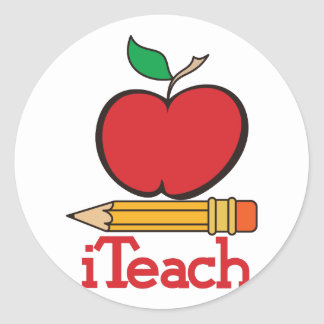 iTeach Teachers Apple Classic Round Sticker