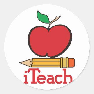 iTeach Teachers Apple Round Sticker