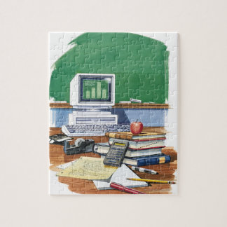 Items on a school teachers desk  Color Jigsaw Puzzle