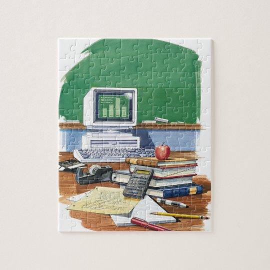 Items on a school teachers desk  Colour Jigsaw Puzzle