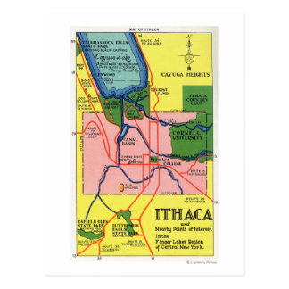 Ithaca and Nearby Points of Interest Postcard