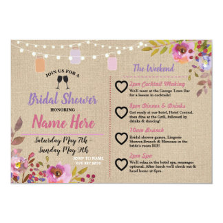 Itinerary Bridal Shower Floral Jars Pink Wood Card