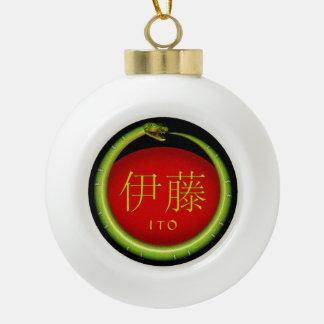 Ito Monogram Snake Ceramic Ball Christmas Ornament