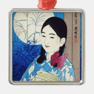 Ito Shinsui Autumn Full Moon Young beautiful Girl Silver-Colored Square Ornament