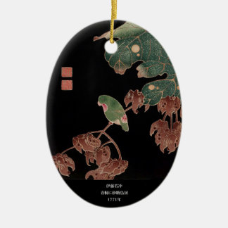 Itoh Jakuchu, Itoh it is young 冲, in the Chinese Ceramic Oval Ornament