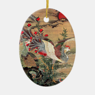 Itoh Jakuchu, Itoh it is young 冲, the Asahi day Ceramic Oval Ornament