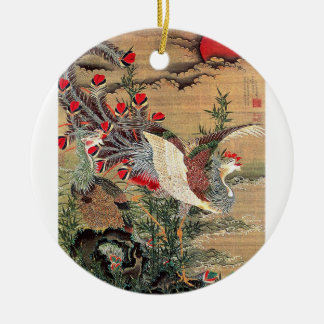 Itoh Jakuchu, Itoh it is young 冲, the Asahi day Round Ceramic Ornament