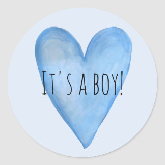 It's a Baby Boy Blue Heart Birth Announcement Classic Round Sticker