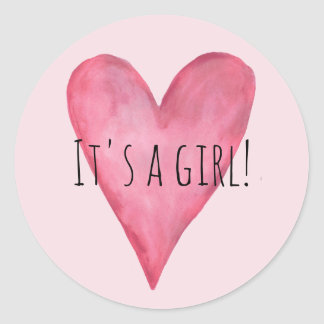 It's a Baby Girl Pink Heart Birth Announcement Classic Round Sticker