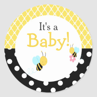 'It's a Baby' Hula Tropical Baby Shower Classic Round Sticker