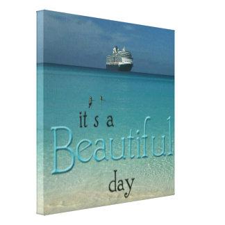 'It's a Beautiful Day' Beach Ship Landscape Canvas Print