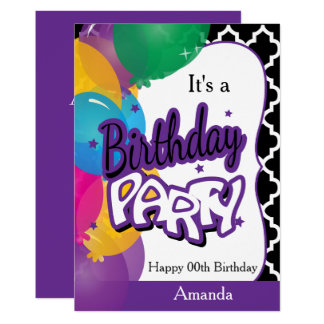 It's A Birthday Party with Balloons in Purple Card