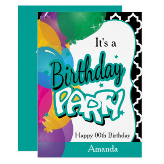 It's A Birthday Party with Balloons in Teal Card
