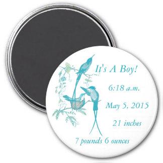 It's A boy! Aqua Vintage Bird Mom Dad Baby Magnet
