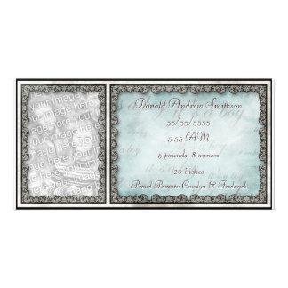 """""""It's a Boy"""" Baby Blue Rustic Custom Photo Card"""