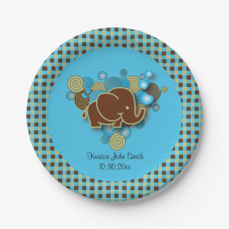 It's A Boy | Baby Elephant | Blue & Brown Plaid 7 Inch Paper Plate